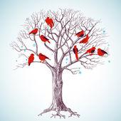Winter tree with birds — Stock Vector