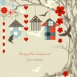 Birds and birdcages in a tree - Imagen vectorial