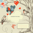 Love birds talk in the woods vector illustration — ストックベクタ