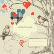 Love birds talk in the woods vector illustration — Imagens vectoriais em stock