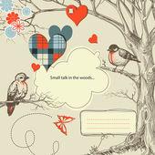 Love birds talk in the woods vector illustration — Stock Vector