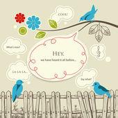 Blue birds talking communication concept — Stock Vector