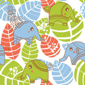 Colorful jungle seamless pattern with elephants — ストックベクタ