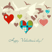 Birds and hearts vector illustration — Stock Vector