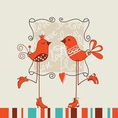 Fåglar romantisk dag vektor illustration — Stockvektor