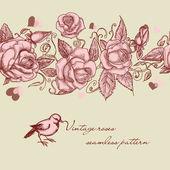 Patrón sin costuras rosas vintage — Vector de stock