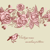 Vintage rozen naadloze patroon — Stockvector