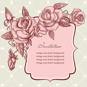 Festive events panel vintage roses decoration — Stock Vector