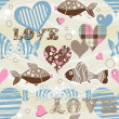 Royalty-Free Stock Vektorfiler: Love fish seamless pattern
