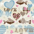 Royalty-Free Stock Векторное изображение: Love fish seamless pattern