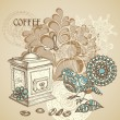 Retro coffee background featuring decorative bird grinding coffe - Stock Vector