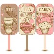 Coffee, tea and cakes labels — Stock Vector