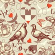 Love birds seamless pattern — Imagen vectorial