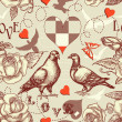 Love birds seamless pattern — Stockvectorbeeld