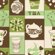 Royalty-Free Stock Vector Image: Retro tea and cupcake seamless pattern