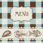 Deniz yemek menüsü — Stok Vektör