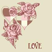 Cartão romântico rosas e corações — Vetor de Stock
