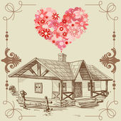 House of love, happy family concept — Stockvector