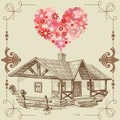 幸せな家族の概念の愛の家 — ストックベクタ