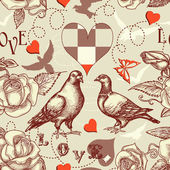 Love birds seamless pattern — Vector de stock