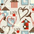 Love seamless pattern with birds, birdcages and hearts — Stok Vektör