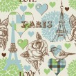 Paris seamless pattern — Stockvectorbeeld