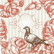 Elegance background with love bird, roses and frame for text — Vettoriali Stock