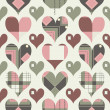 Stock Vector: Retro hearts seamless pattern