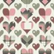 Retro hearts seamless pattern — Stock Vector