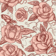 Vintage roses seamless pattern — Stock Vector #8528025