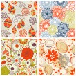 Floral seamless pattern set in trendy colors — Stock Vector