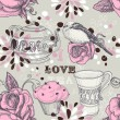 Tea love seamless pattern — Stock Vector #8529049
