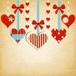 Stock Vector: Valentine day background with cute hearts