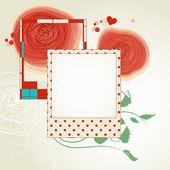 Disposición del desecho flores rojas y marcos de fotos — Vector de stock