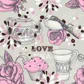 Tea love seamless pattern — Stock Vector
