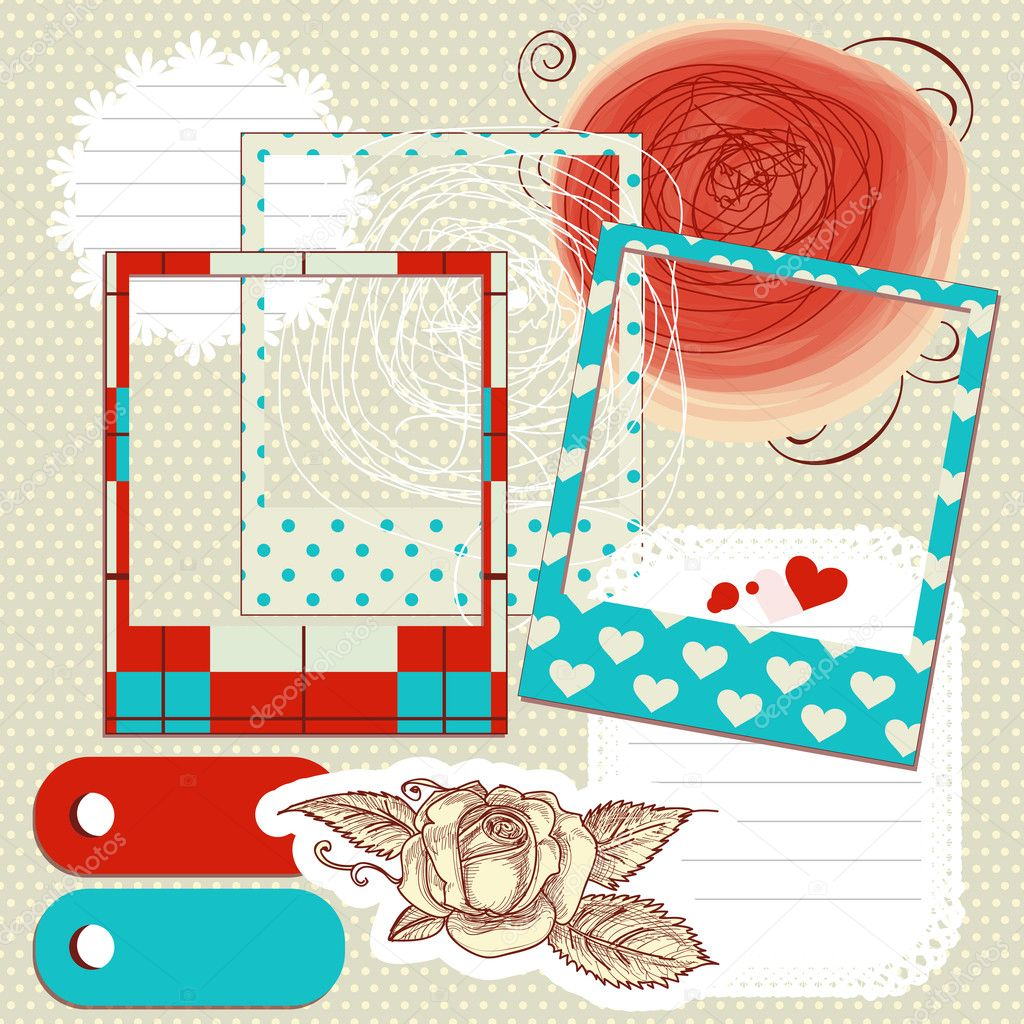 Scrapbook elements, paper scribbles and photo frames  Stock Vector #8528943