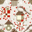 Birds and birdcages seamless pattern -  