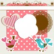 Scrapbook elements with birds and speech bubble - Imagens vectoriais em stock