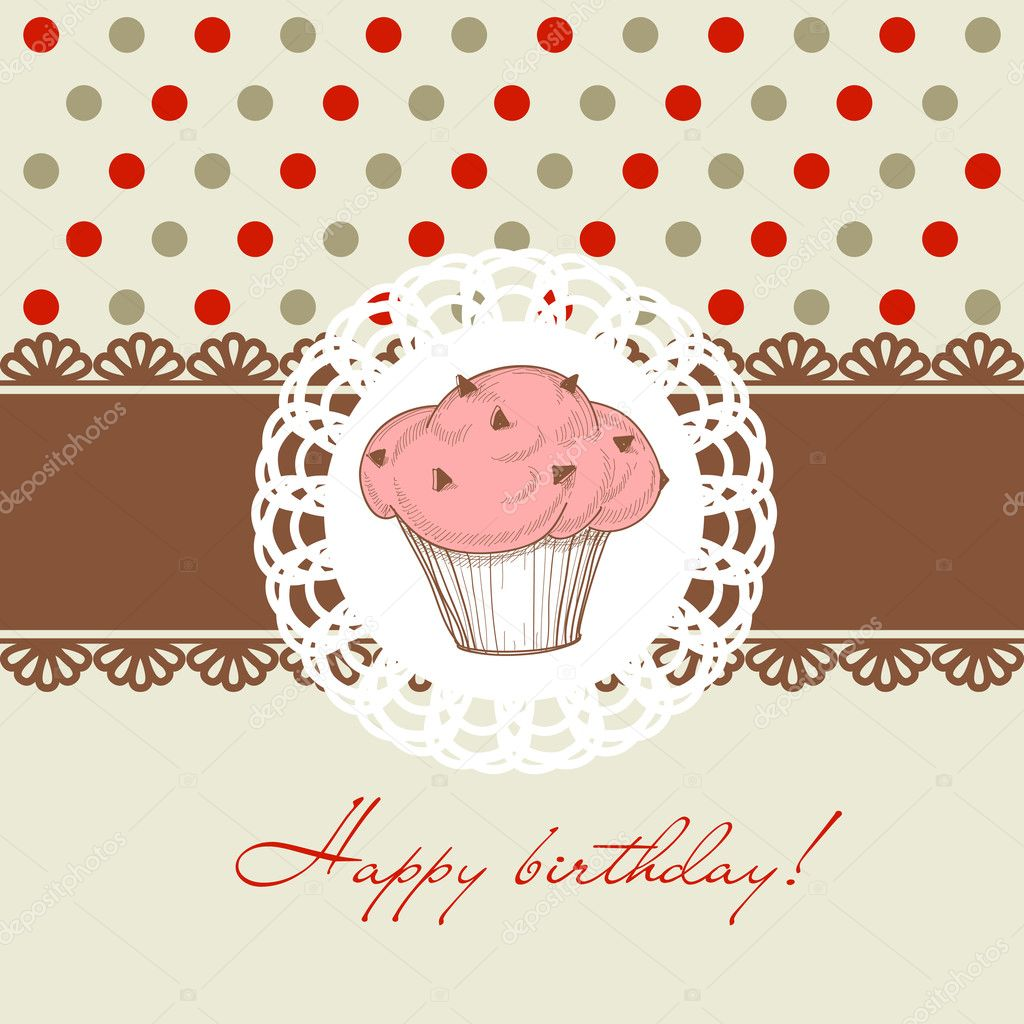 Birthday cupcake — Stock Vector #8639902