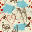 Vector de stock : Love seamless pattern, Cupid and love birds