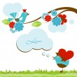 Love scene with cute birds - Imagen vectorial