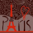 Love in Paris background, decorative Paris word with Eiffel towe - Stock Vector