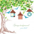 Spring tree, birdcages and blue birds background