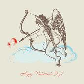 Cupidon dessiné main avec arche — Vecteur