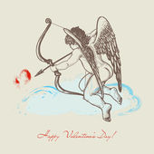 Hand drawn Cupid with arch — Vector de stock