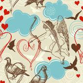 爱无缝模式、 丘比特和爱鸟 — 图库矢量图片