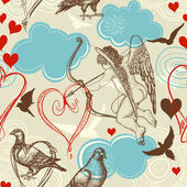 Love seamless pattern, Cupid and love birds — Stok Vektör