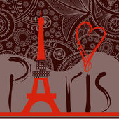 Love in Paris background, decorative Paris word with Eiffel towe — Stock Vector
