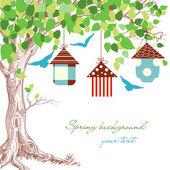 春天树、 鸟笼和蓝鸟背景 — 图库矢量图片
