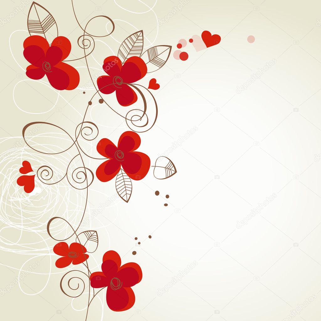 ... Flores rojas del vector ornamento — Ilustración de Stock #8640816